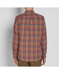 Beams Plus Red Button Down Madras Shirt for men