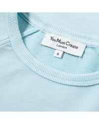 YMC Blue Pigment Dye Schrank Raglan Sweat for men