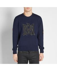 Alexander McQueen Blue Amq Logo Crew Sweat for men