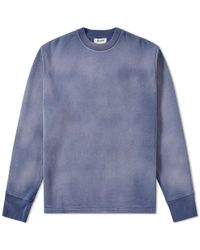 Acne Blue Filo Sprayed Jersey Leather Patch Crew Sweat for men