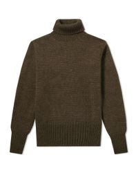 Nigel Cabourn Green Authentic Reversible Roll Neck for men