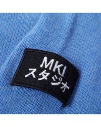 MKI Miyuki-Zoku Blue Arm Badge Lambswool Crew Knit for men