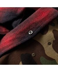 Sophnet Red Camouflage Panel Ombre Check Shirt for men