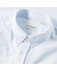 Lacoste Blue Short Sleeve Button Down Oxford Shirt for men