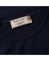 Maison Kitsuné Blue Virgin Wool R-neck Pullover for men