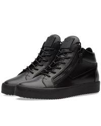 Giuseppe Zanotti Black Double Zip Mid Sneaker for men