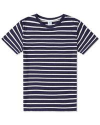 Velva Sheen Blue Uneven Stripe Tee for men
