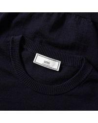 AMI Blue Heart Logo Crew Knit for men