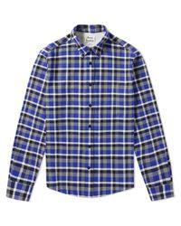 Acne Blue Isherwood Tartan Check Button Down Shirt for men