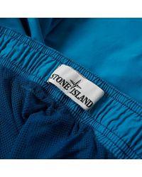 Stone Island Blue Brushed Nylon Patch Logo Swim Short for men