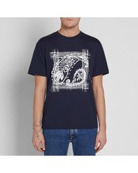Wooyoungmi Blue Paisley Print Tee for men