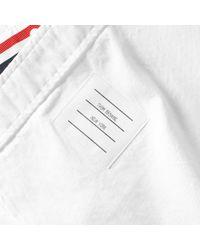 Thom Browne White Short Sleeve Classic Grosgrain Placket Oxford Shirt for men