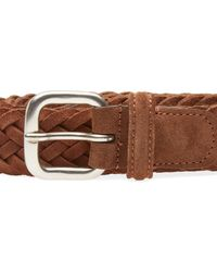Andersons Brown Anderson's Woven Suede Belt for men
