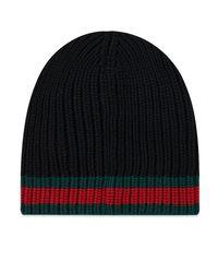 Gucci Black Grg Band Knit Beanie for men