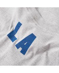 Ebbets Field Flannels Gray Los Angeles Angels 1956 Script Tee for men
