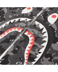 A Bathing Ape Gray Desert Camo Shark Tee for men