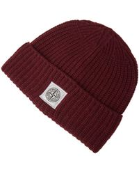 Stone Island - Red Lambswool Beanie - Lyst