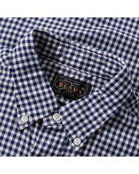 Beams Plus Blue Button Down Gingham Shirt for men