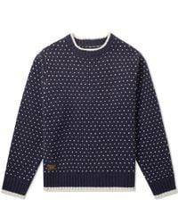 (w)taps | Blue Birdseye Crew Knit for Men | Lyst