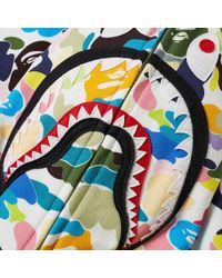 A Bathing Ape White Multi Camo Shark Zip Hoody