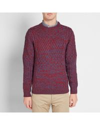 A.P.C. Blue Wexford Intarsia Crew Knit for men