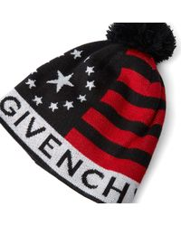 Givenchy Black Stars And Stripes Knitted Hat for men