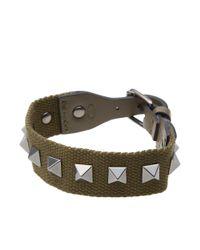 Valentino Green Nastro Rock Stud Bracelet for men