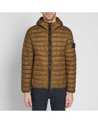 Stone Island Brown Garment Dyed Micro Yarn Down Hooded Jacket for men