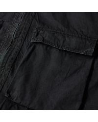 Stone Island Black Tela Smerigliata Garment Dyed Zip Overshirt for men