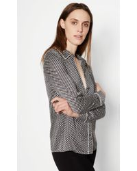Equipment Black Kate Moss Shiloh Silk Shirt With Piping