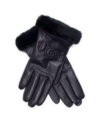 Ugg - Black Logo Leather Gloves - Lyst