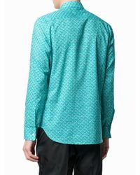 Maison Margiela Blue Wave Pattern Shirt for men
