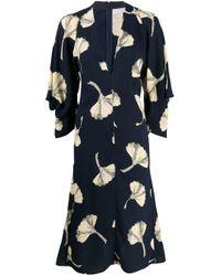 Victoria Beckham Blue V-neck Draped Sleeve Midi Dress