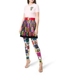 Versace Blue Logo Print Pleated Mini Skirt