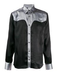 SSS World Corp Black Contrast Yoke Shirt for men