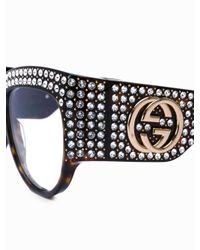 Gucci Brown Oversize Crystal Sunglasses