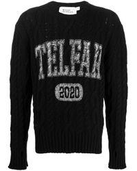 Telfar Black Cable Knit Logo Print Jumper