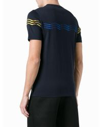 Fendi Blue No Words Embroidered T-shirt for men