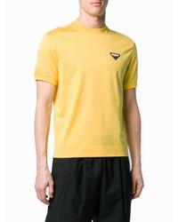 Prada Yellow Logo Patch T-shirt for men
