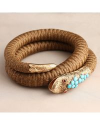 Erica Weiner Multicolor Victorian Coiled Serpent Hair Bangle With Garnets And Turquoise