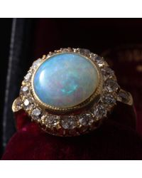 Erica Weiner Metallic Massive Edwardian Opal And Diamond Cluster Ring