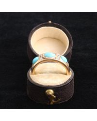 Erica Weiner Black Victorian Turquoise And Old Mine Cut Diamond Ring