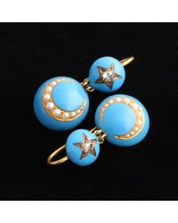 Erica Weiner Victorian Blue Enamel Diamond Star And Pearl Crescent Earrings