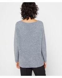 Suéter cuello en v punto fino Etam de color Gray