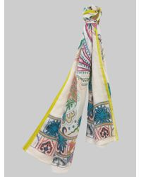Etro Blue Paisley And Pegaso Pattern Scarf for men