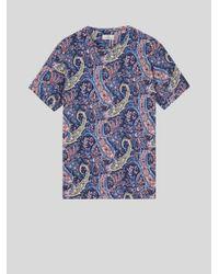 Etro Blue Floral Paisley Print Cotton T-shirt for men
