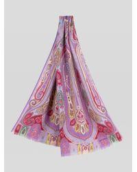 Écharpe En Laine Et Soie Imprimé Paisley Etro en coloris Purple