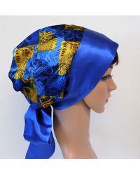 Etsy Blue Satin Head Scarf For