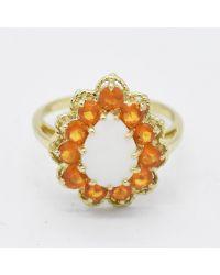 Etsy 14k Yellow Gold Estate Teardrop Opal & Orange Gemstone Ring
