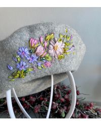 Etsy Gray Winter Beret In French Floral Style